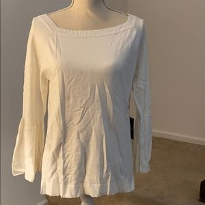 525 American White Bell Sleeve Sweater